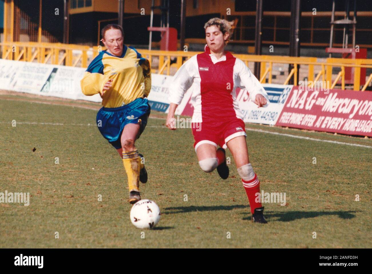 Match action during Doncaster Belles vs Wembley Ladies, FA Women's Premier League Cup Final Football at Underhill, Barnet FC on 10th March 1996 Stock Photo