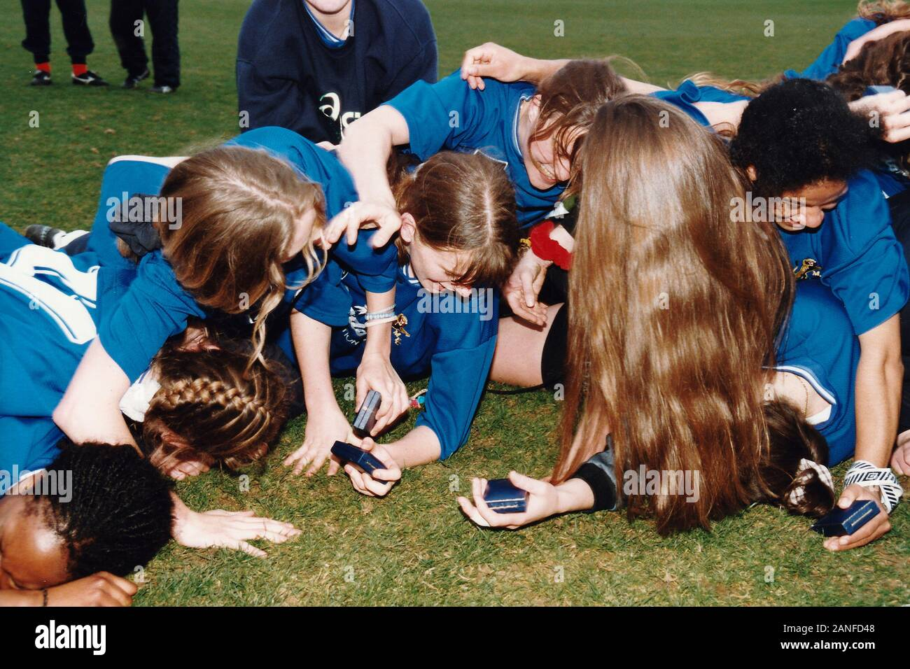 Millwall players celebrate victory during Everton Ladies vs Millwall Lionesses, FA Women's Premier League Cup Final Football at Underhill, Barnet FC o Stock Photo