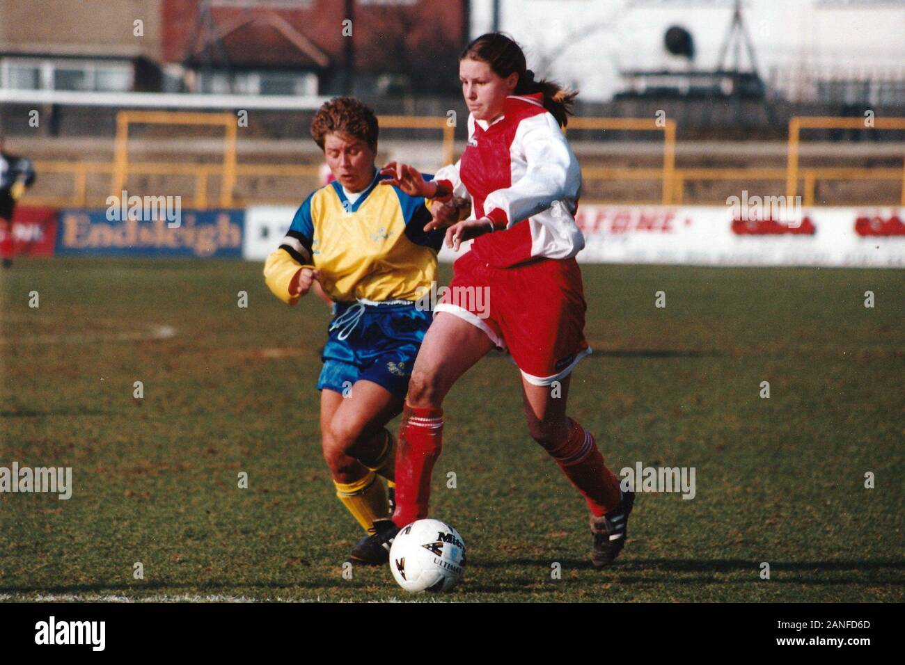 Kelly Smith of Wembley and Gillian Coluthard of Doncaster during Doncaster Belles vs Wembley Ladies, FA Women's Premier League Cup Final Football at U Stock Photo