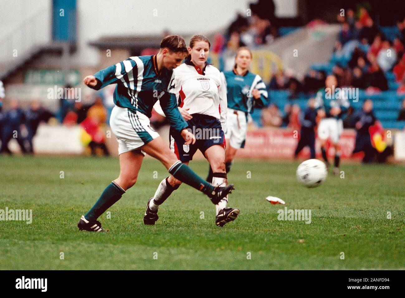 Match action in front of a new British record crowd of 4,917 during England Women vs Germany Women, World Cup Qualifying Football at the New Den, Mill Stock Photo