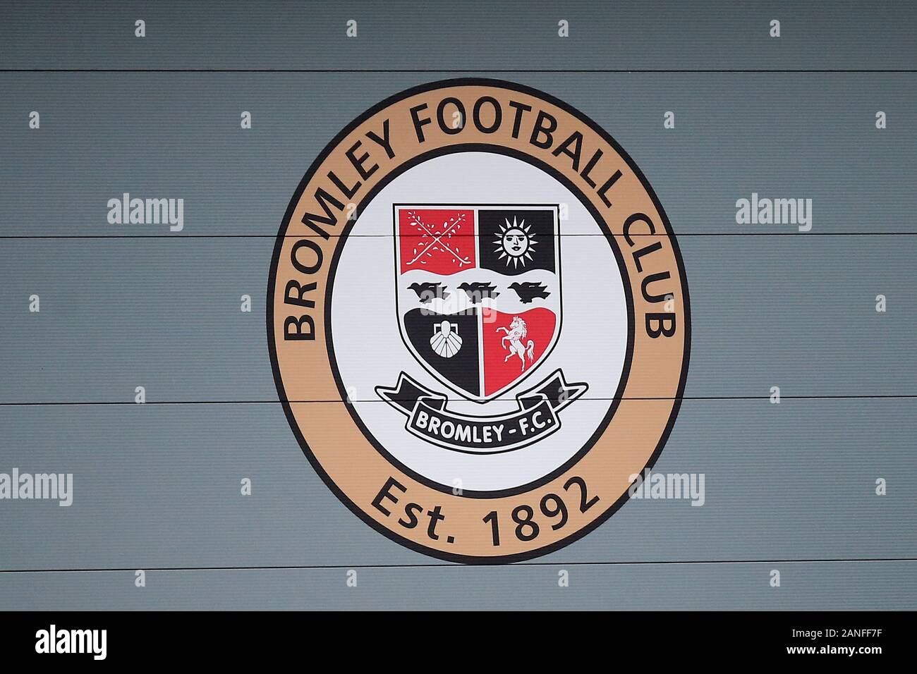 Bromley FC signage during Bromley vs Dagenham & Redbridge, Vanarama National League Football at The Westminster Waste Stadium on 28th December 2019 Stock Photo
