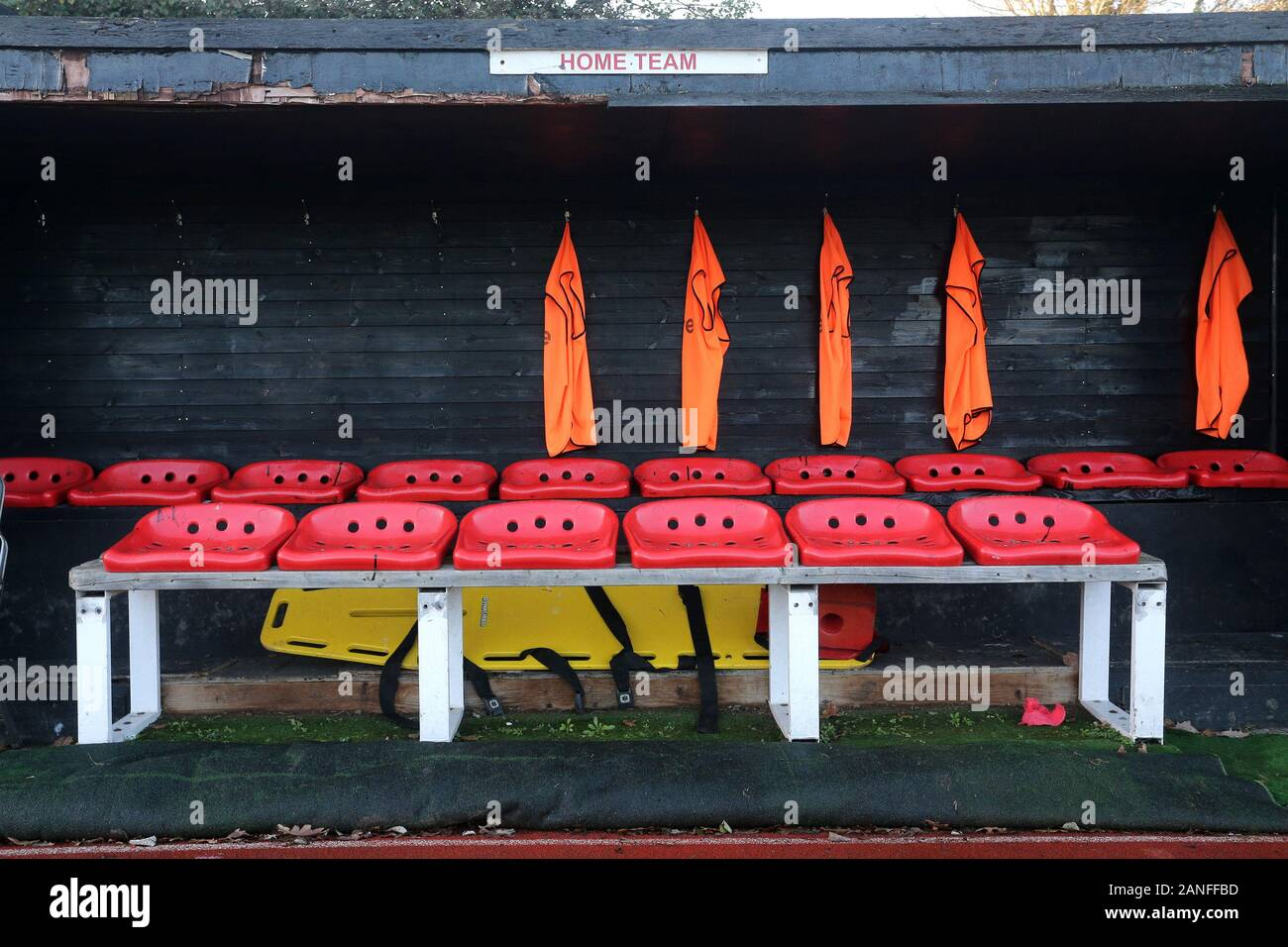 General view of the home dugout during Hornchurch vs Dulwich Hamlet, Buildbase FA Trophy Football at Hornchurch Stadium on 14th December 2019 Stock Photo