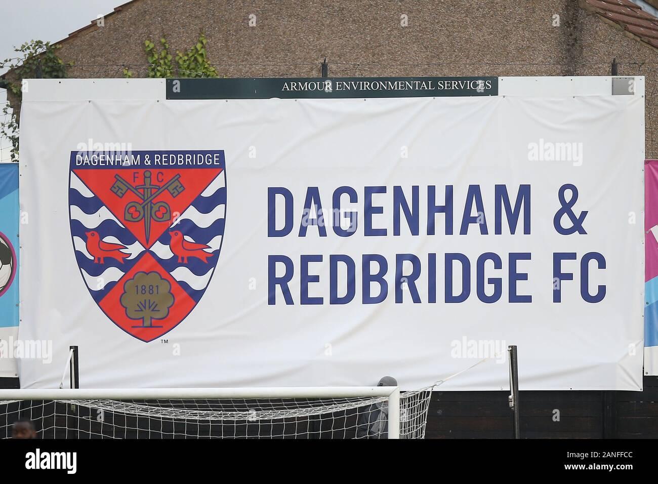 Dagenham & Redbridge FC signage during Dagenham & Redbridge vs Maidenhead United, Vanarama National League Football at the Chigwell Construction Stadi Stock Photo
