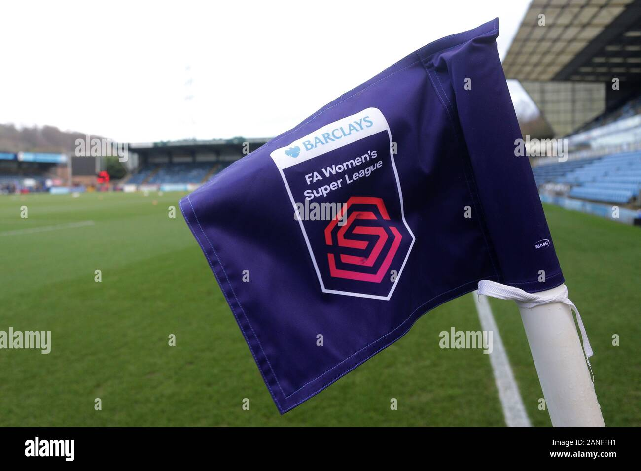 General view of the FAWSL corner flag ahead of Reading FC Women vs Arsenal Women, Barclays FA Women's Super League Football at Adams Park on 8th Decem Stock Photo