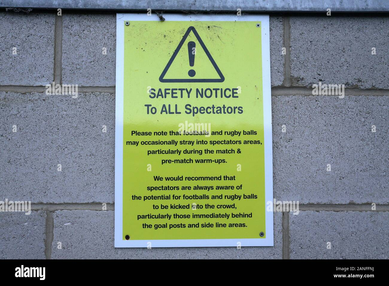 Safety Notice signage ahead of Reading FC Women vs Arsenal Women, Barclays FA Women's Super League Football at Adams Park on 8th December 2019 Stock Photo