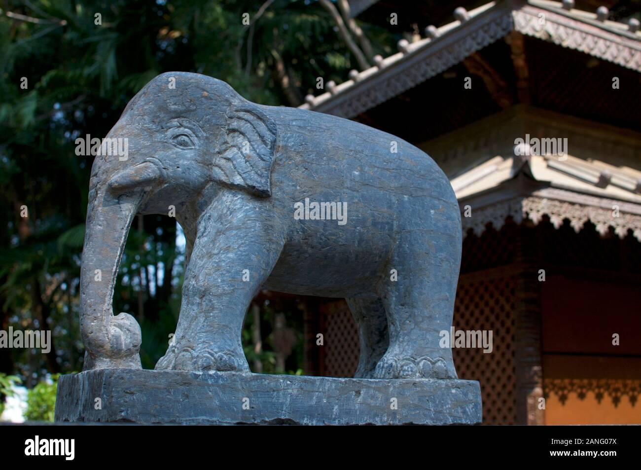 Stone statue of an Elephant located at the entrance at the Nepalese Peace Pagoda in Brisbane, South Bank parklands Stock Photo