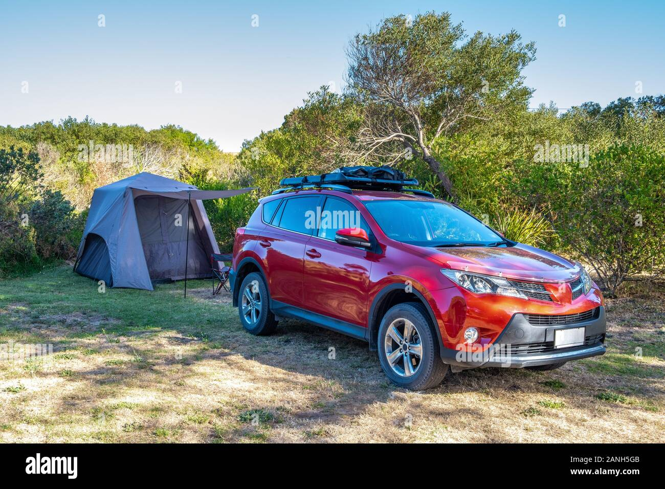 Suv Car And Pitched Tent At A Holiday Park In Australia Stock Photo Alamy