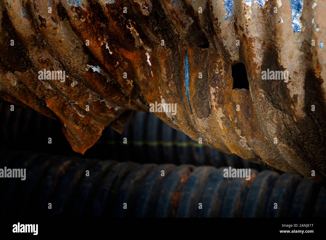 Drainage pipe extracted from a culvert draining an RV park in southern Alabama. Stock Photo