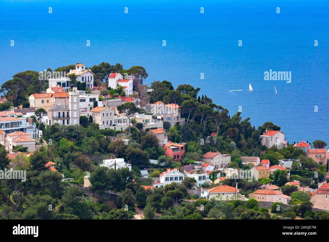 Aerial view of Malmousque, district of 7th arrondissement of Marseille , in sub-district of Endoume, Marseille, the second largest city of France Stock Photo