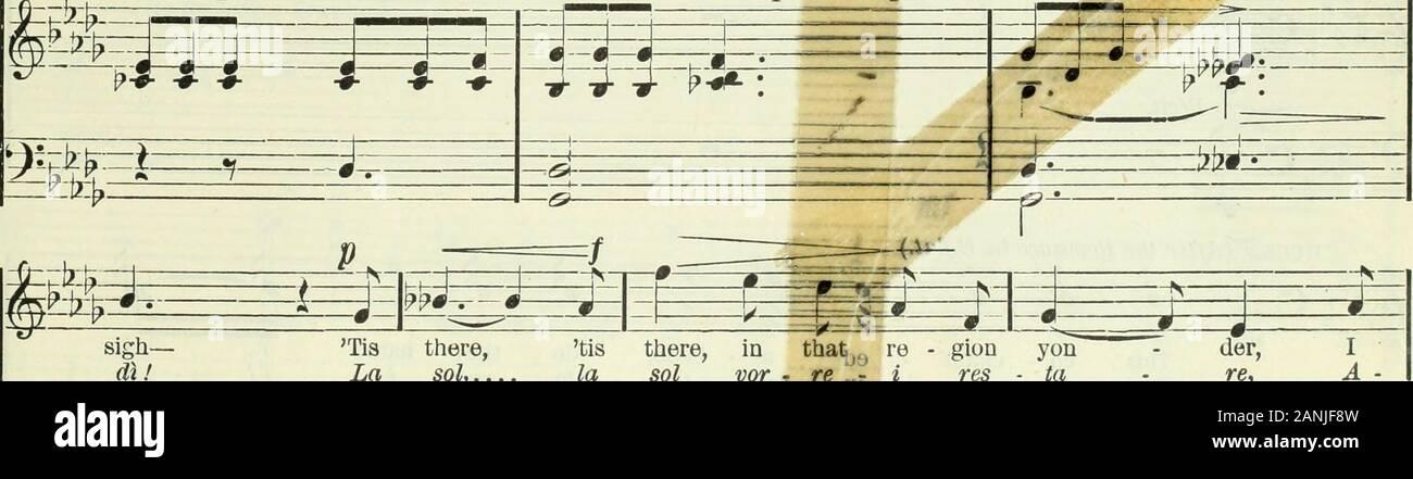 "Mignon : opera in three acts . could my steps back-ward wau - der To that -&ar lov - ed land fora whose joys I still .... po - tess io ri - tor - na - re A queL=Ue spon -de a mene on - de fui tolta un. sigh-dìt Tis there,La sol,.. tis there, in that)f) re - gion yonla sol vor , K""j % res ta der,re, IA -&£ *£ u mf+ zt-+ -*—zir Stock Photo"
