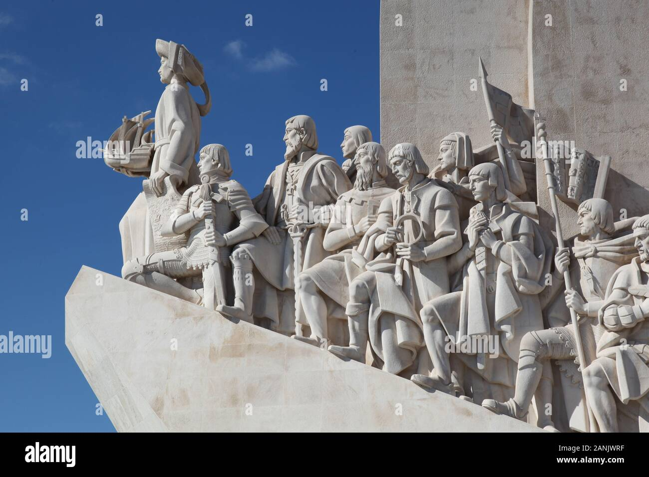 Eastern profile of the Padrao dos Descobrimentos, or Monument of the Discoveries, in Belem, Lisbon, Portugal Stock Photo