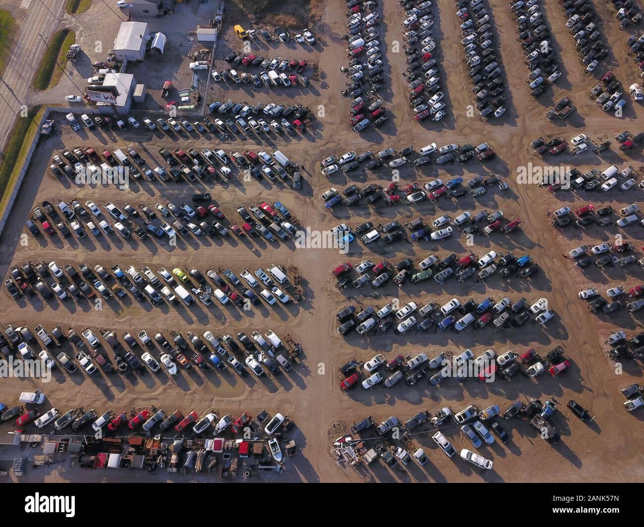 Drone aerial auto car junk yard near Great Miami River Ohio Stock Photo