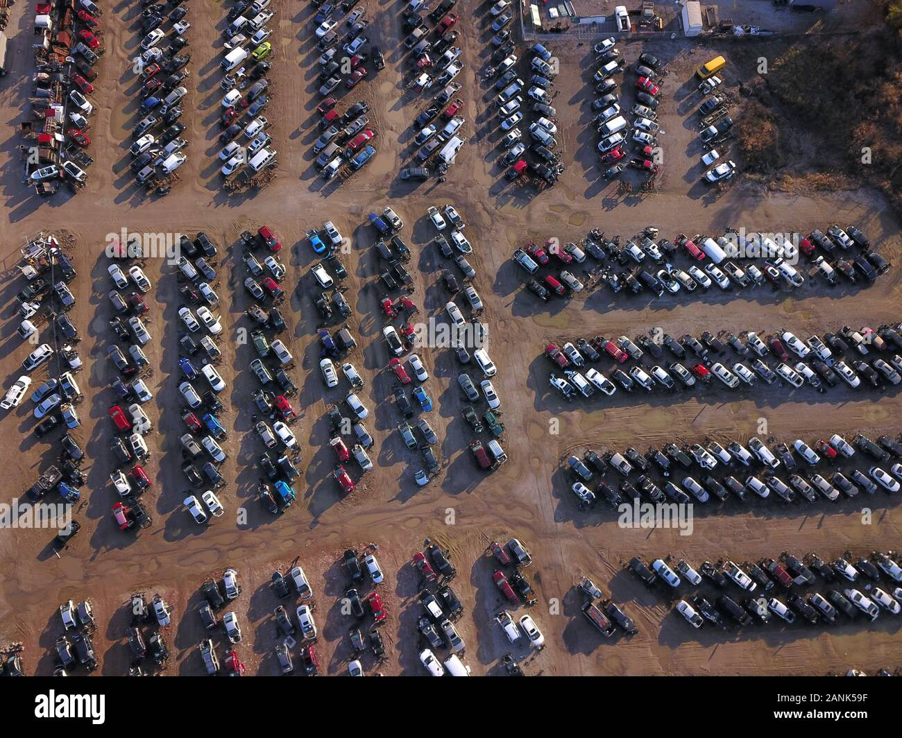 Drone aerial auto car junk yard near Great Miami River Ohio Stock Photo
