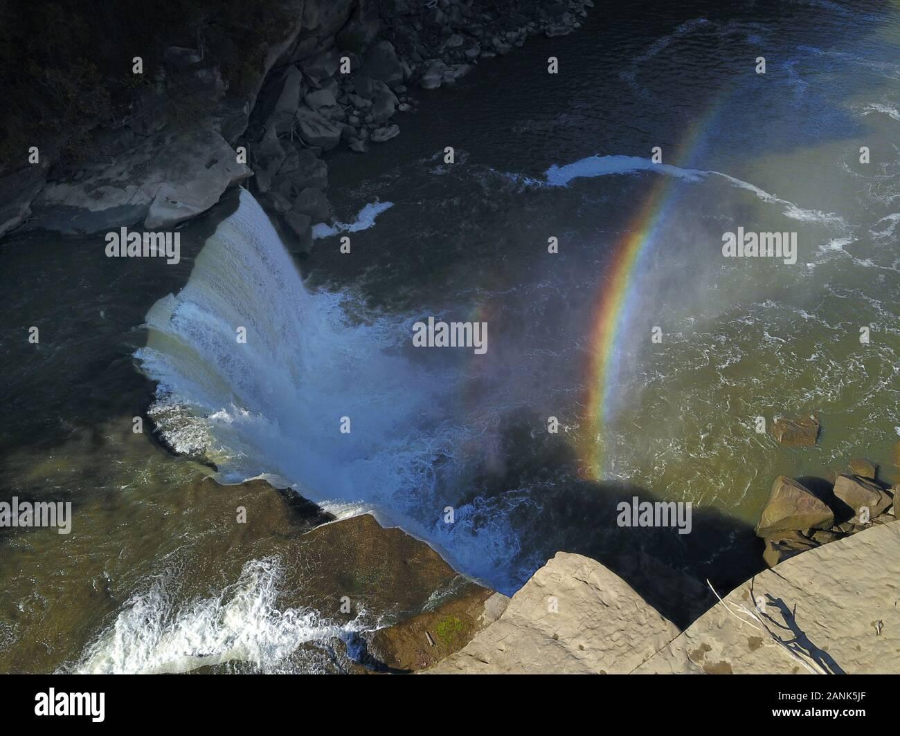 Cumberland Falls waterfall rainbow drone aerial Kentucky USA Stock Photo