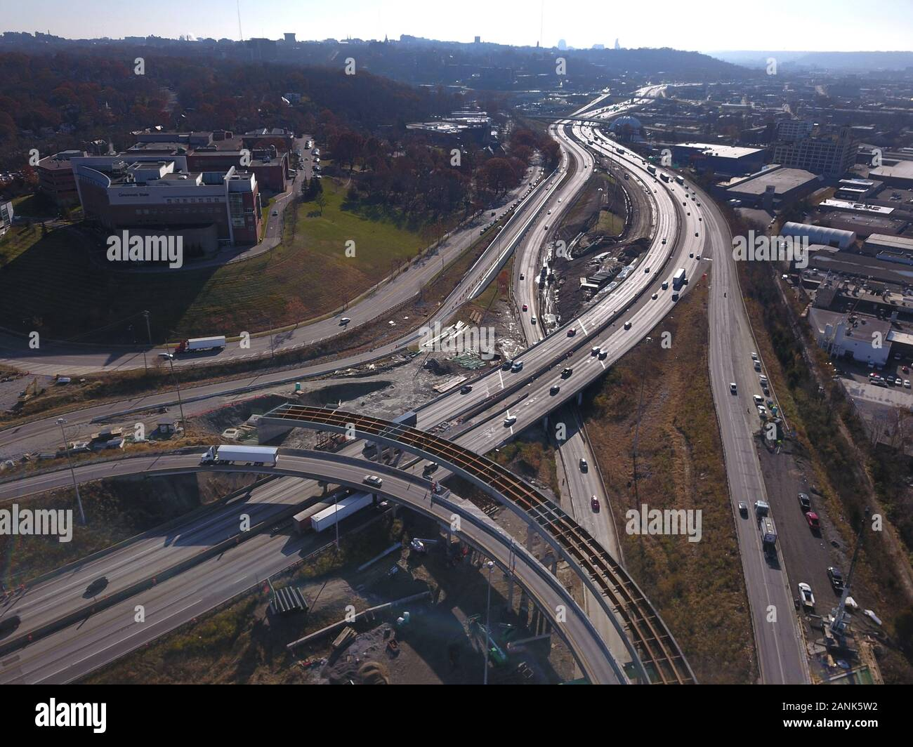 drone aerial I-75 interstate bridge construction Cincinnati Ohio Stock Photo