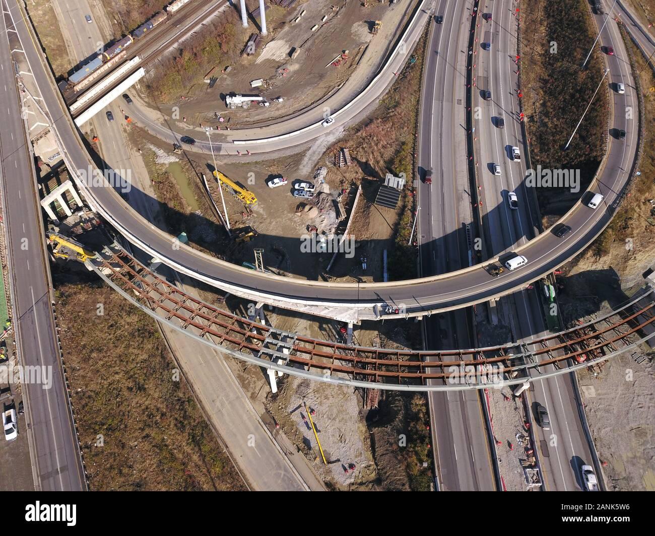 drone aerial I-75 interstate bridge construction Cincinnati Ohio Stock Photo