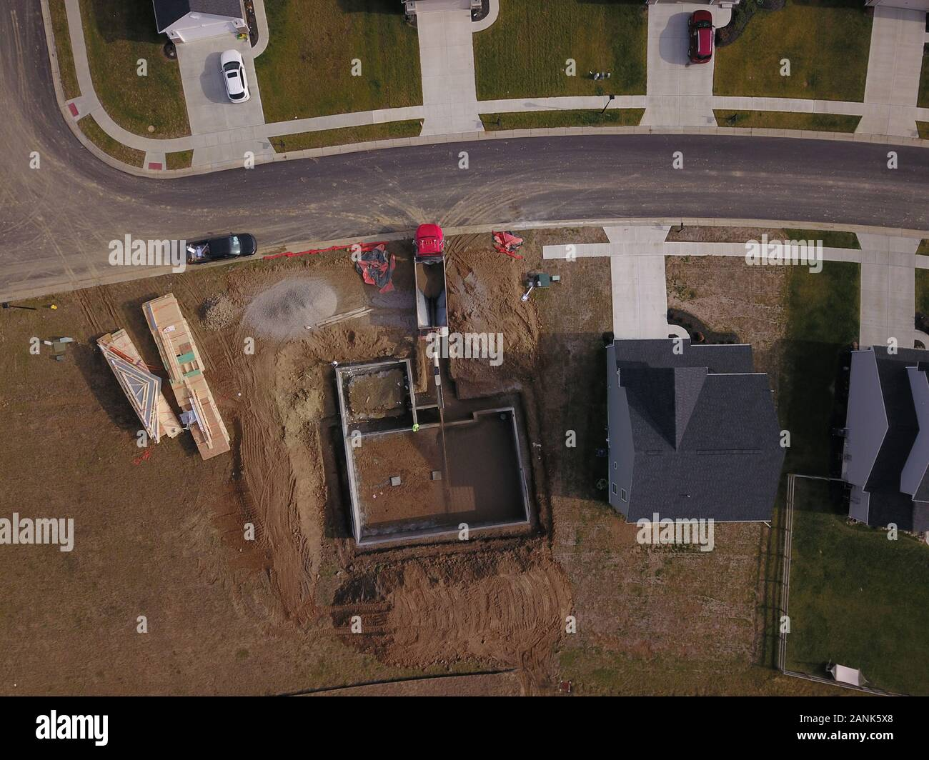 drone aerial Home neighborhood construction in converted farm field Ohio Stock Photo