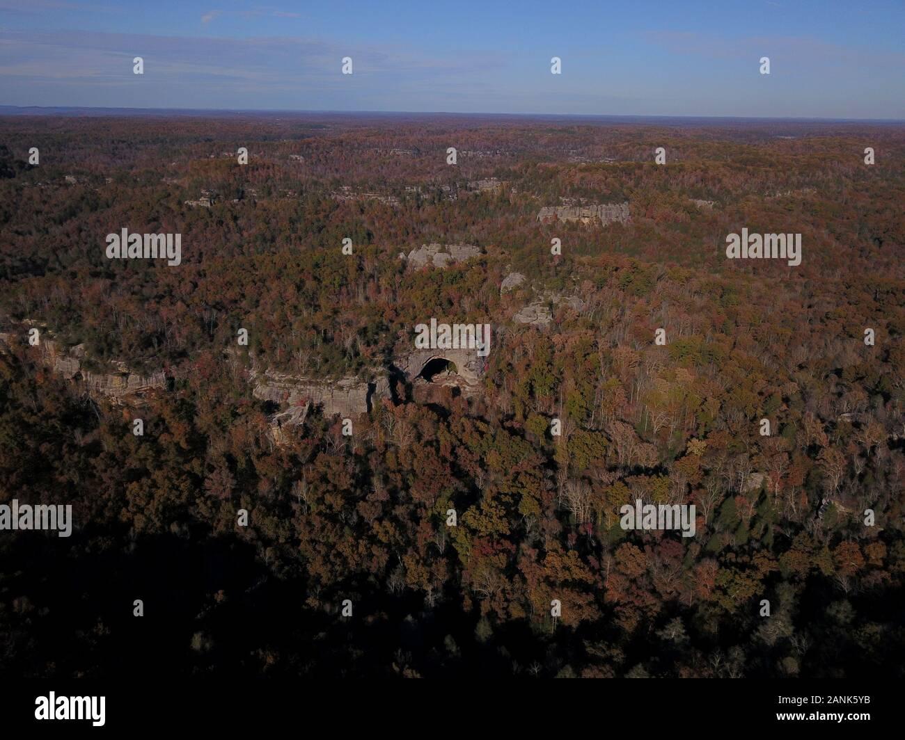 Drone aerial Natural Arch Kentucky USA A rock bridge Stock Photo