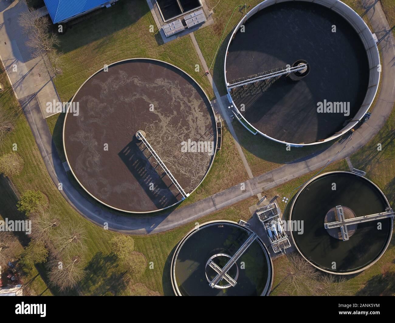 Drone ariel sewage treatment plant Ohio Stock Photo