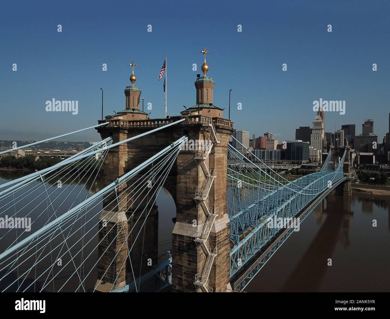 Drone Aerial Roebling suspension bridge over Ohio River downtown Cincinnati USA Stock Photo