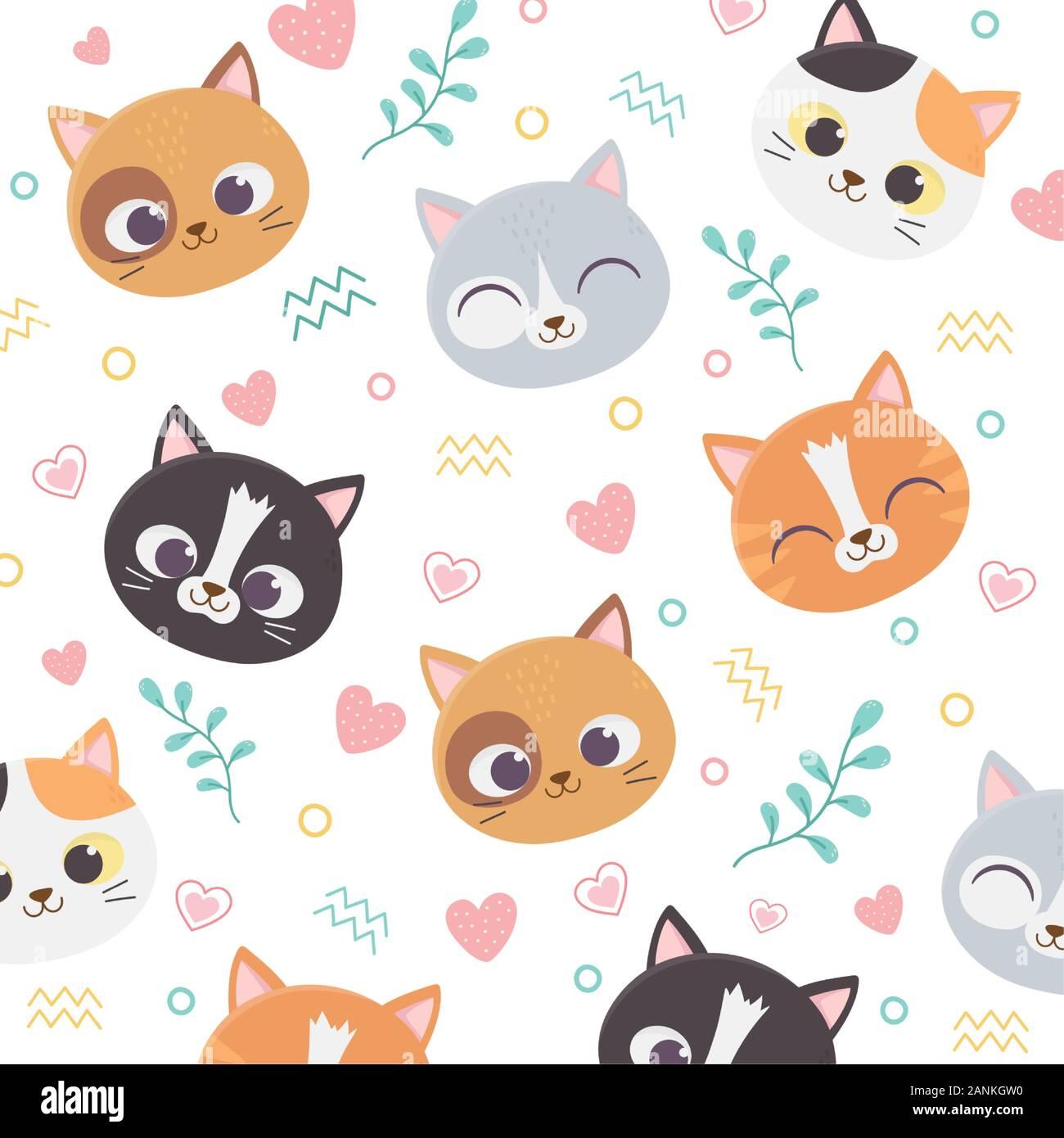 Cute Pet Cats Face Hearts Love Foliage Cartoon Background Vector Illustration Stock Vector Image Art Alamy