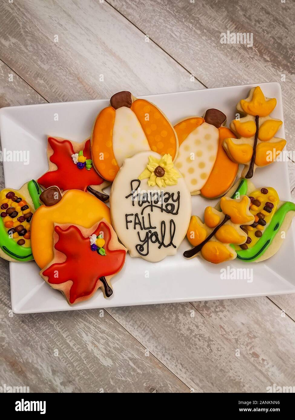 Seasonal Happy Fall Y All Sugar Cookie Platter Decorated To Celebrate The Season Stock Photo Alamy
