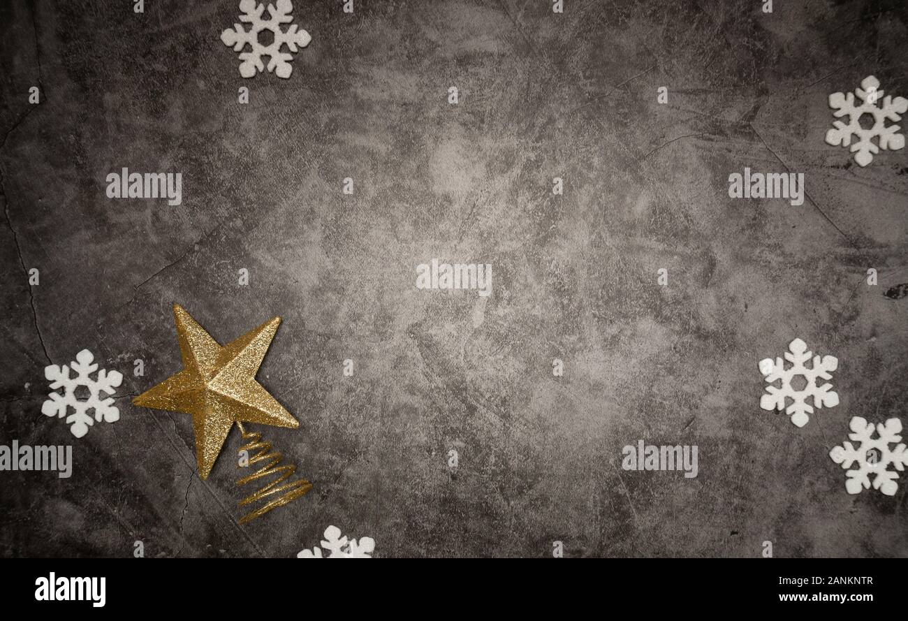 Christmas Composition Of Snowflakes And Christmas Tree Topper On A Modern Grey Wash Background Isolated Flatlay Top View Copy Space Stock Photo Alamy