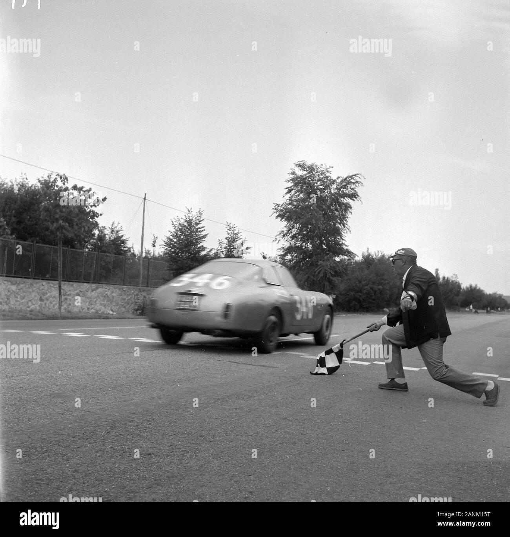 Entry #346 at the Trieste-Opicina race on 22 July 1962 was a Lancia Flaminia Sport Zagato driven by Piero Frescobaldi. (It looks almost like a Lancia Appia Sport Zagato...) TRIESTE-OPICINA 1962. Dopo 5'283 di corsa alla  di 111,301 Km/h, il marchese Piero Frescobaldi su Lancia Flaminia Sport Zagato passa la checkered flag a Banne conquistando il primo posto in Classe 2500 cc Cat. Gran Turismo. Per la cronaca il decimo tempo assoluto di quella edizione della trieste-opicina targata 22 luglio 1962 lo staccò lo svizzero Werner Rufenacht su Ferrari 250 GT SWB con il tempo d Stock Photo