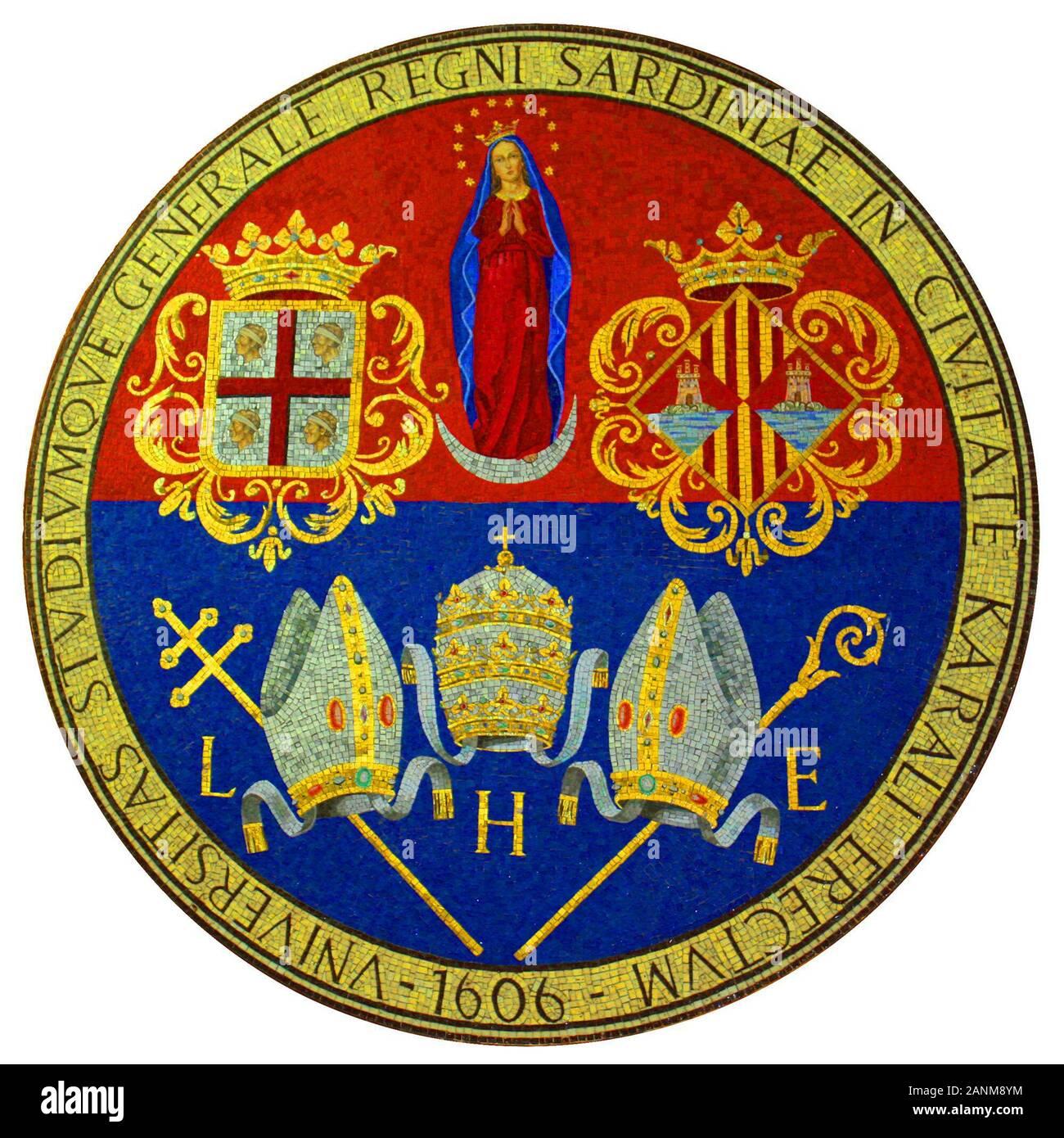 Mosaico dello stemma dell'Università di Cagliari presso ex-clinica Aresu; 4 June 2008, 18:04:07;   unica.it/UserFiles/Image/Grafica/mosaicoaresu2500px300dpi.jpg; Unknown; Stock Photo