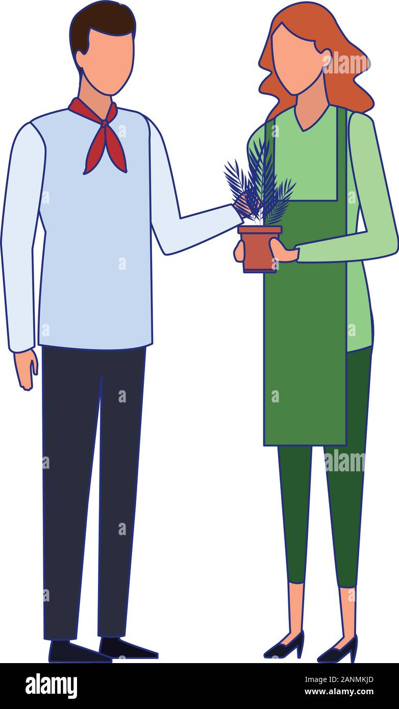 Chef Man And Gardener Woman Standing Colorful Design Stock Vector
