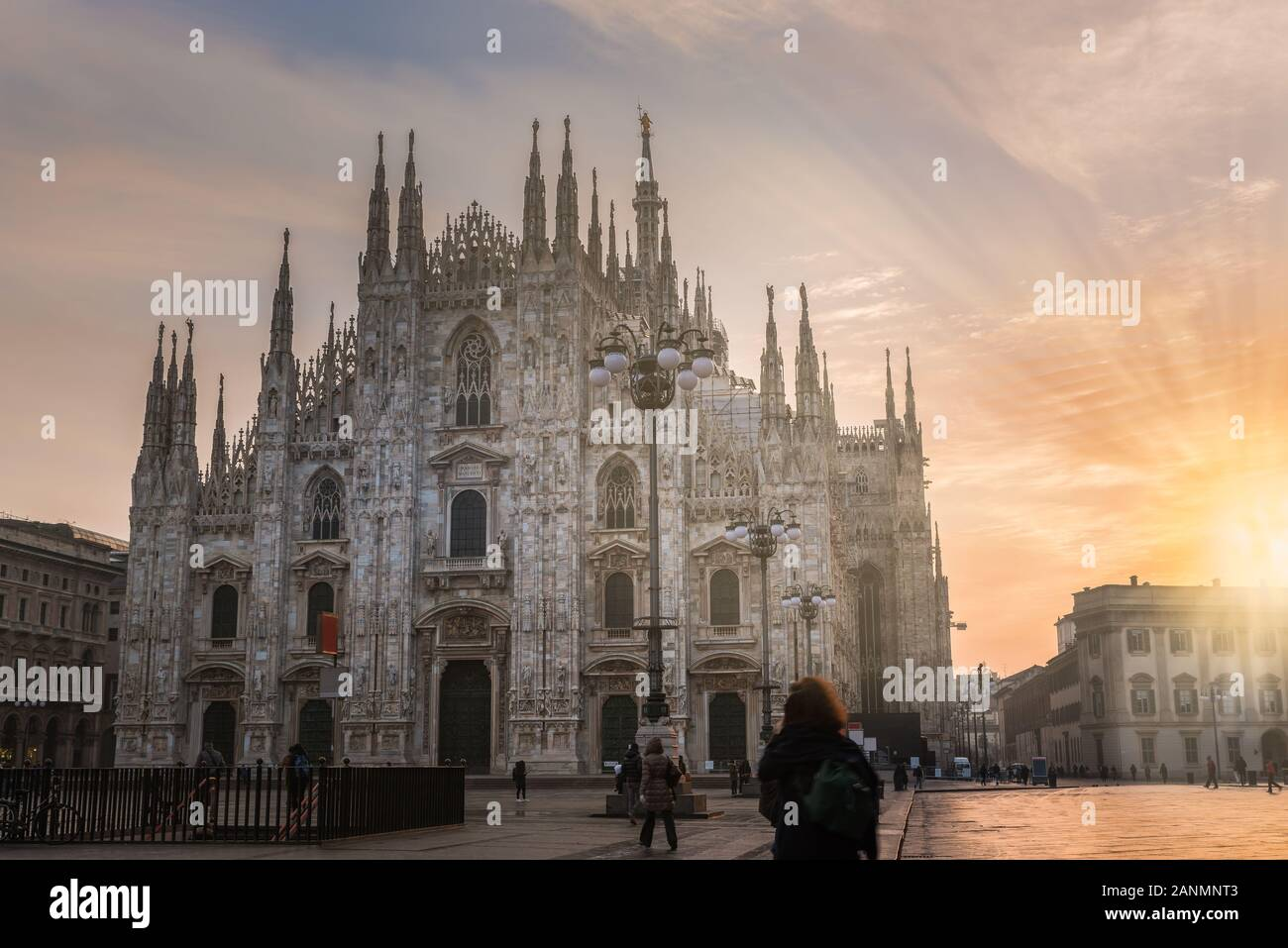 Milan city at sunrise, Italy. Milan Duomo Stock Photo