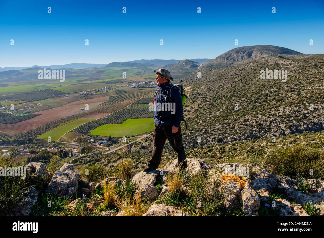 Hiker doing a nature walk. Nature environment natural park of Ardales. Malaga province, southern Andalusia. Spain Europe Stock Photo