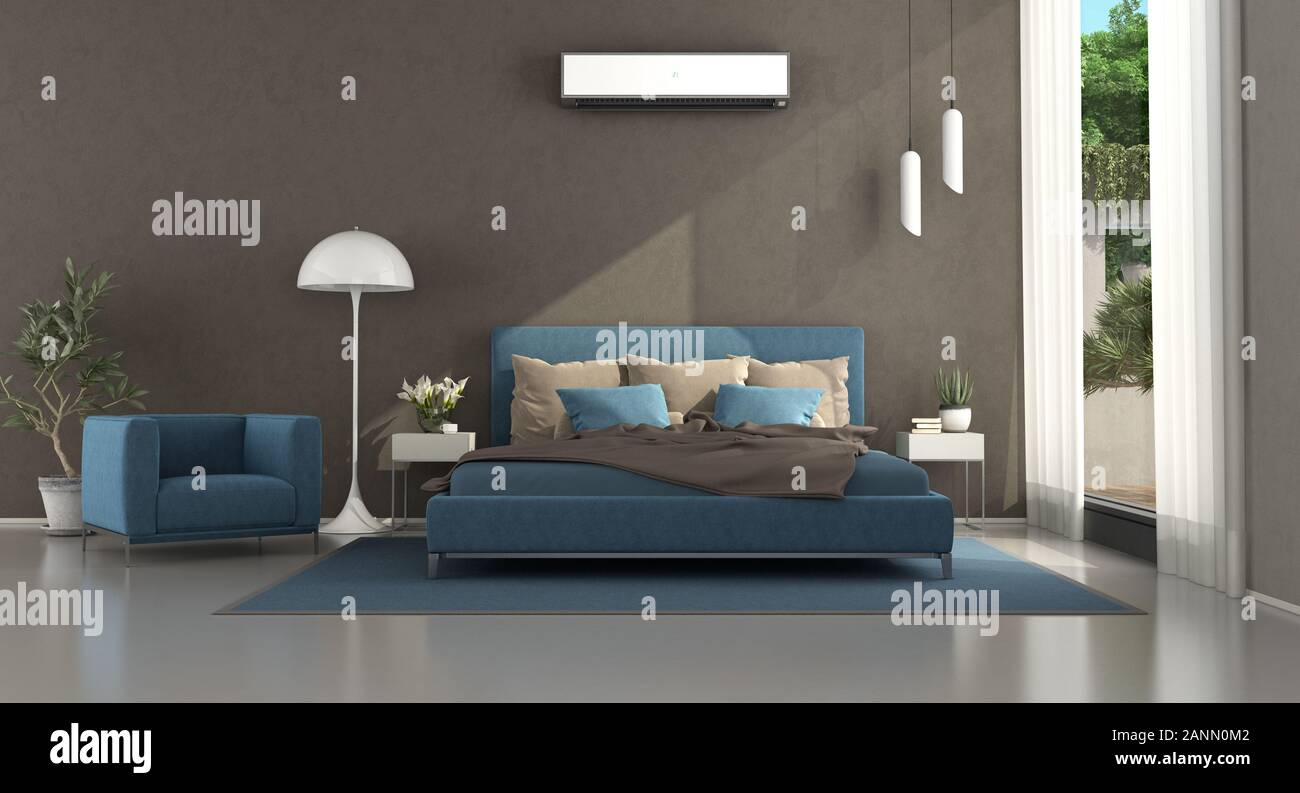 Blue And Brown Modern Master Bedroom With Double Bed And Nightstand 3d Rendering Stock Photo Alamy