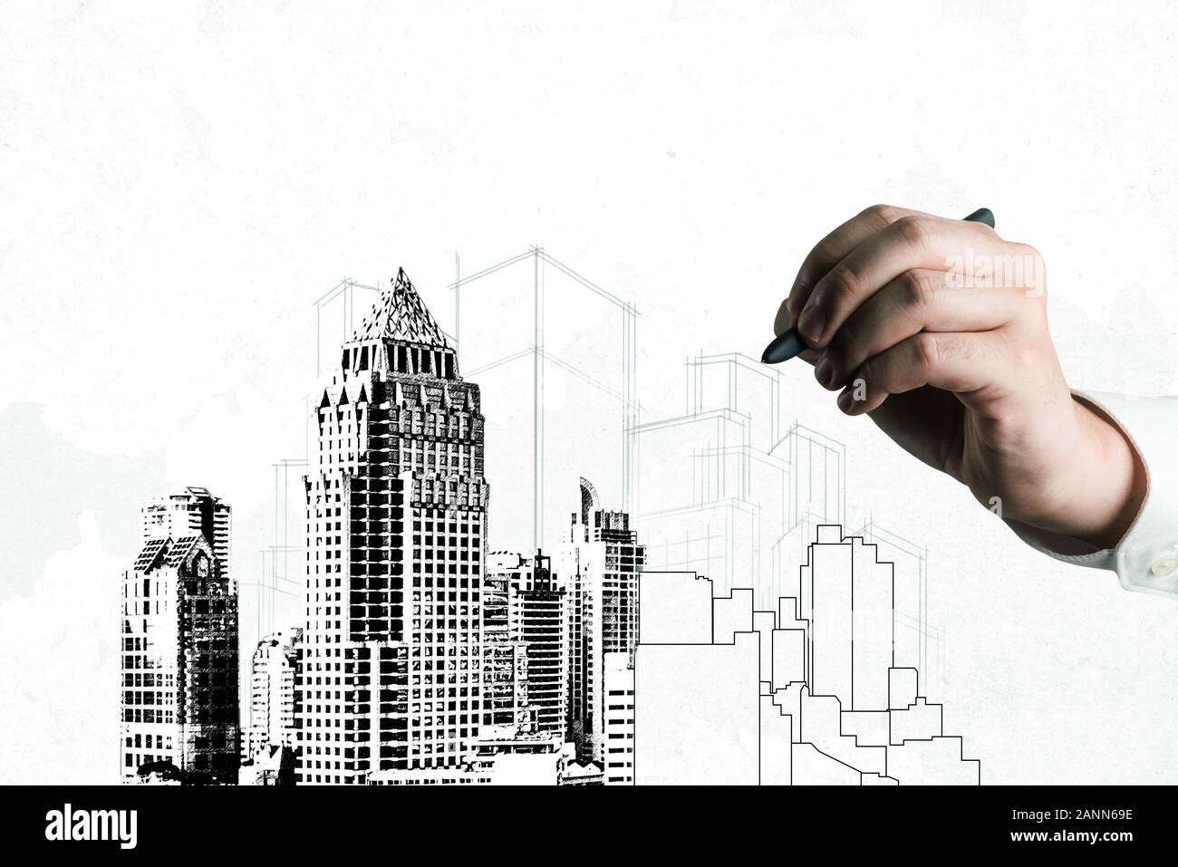 City civil planning and real estate development - Architect people looking at abstract city sketch drawing to design creative future city building. Ar Stock Photo