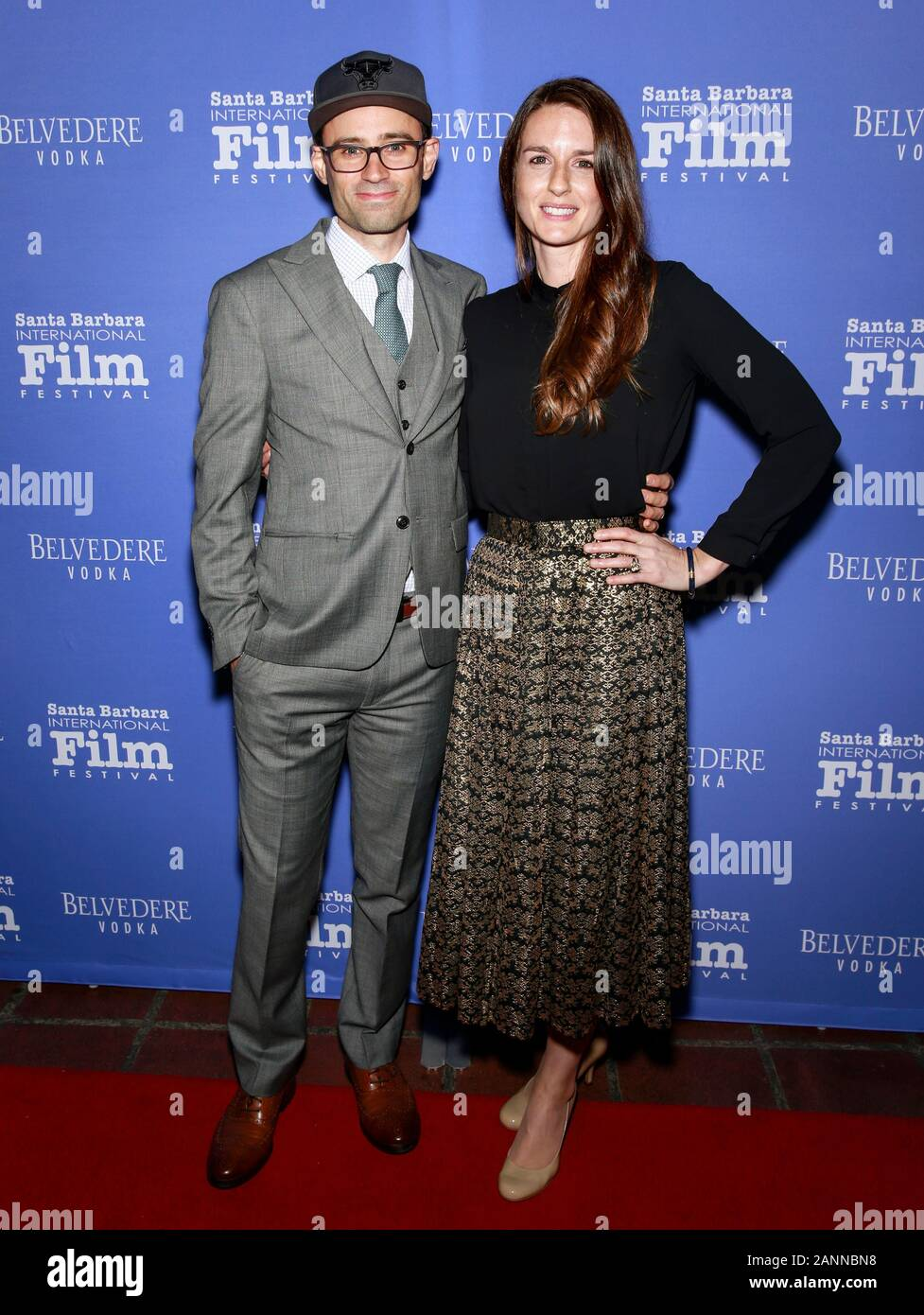 Santa Barbara, CA - Jan 17, 2020: Jonathan Lacocque and Clara Lehmann attend the Outstanding Performers of the Year Award during the 35th Santa Barbar Stock Photo