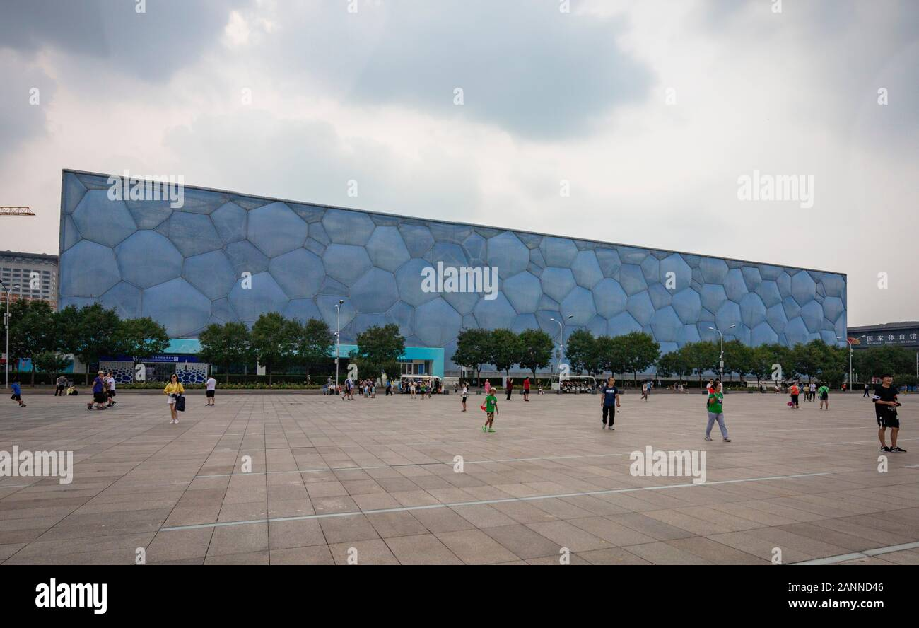 The Beijing National Aquatics Center, also known as the  Water Cube, Beijing, China Stock Photo