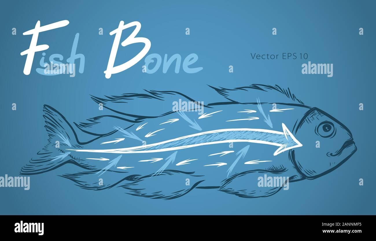 Ishikawa fishbone diagram detailed vector sketch illustration Stock Vector