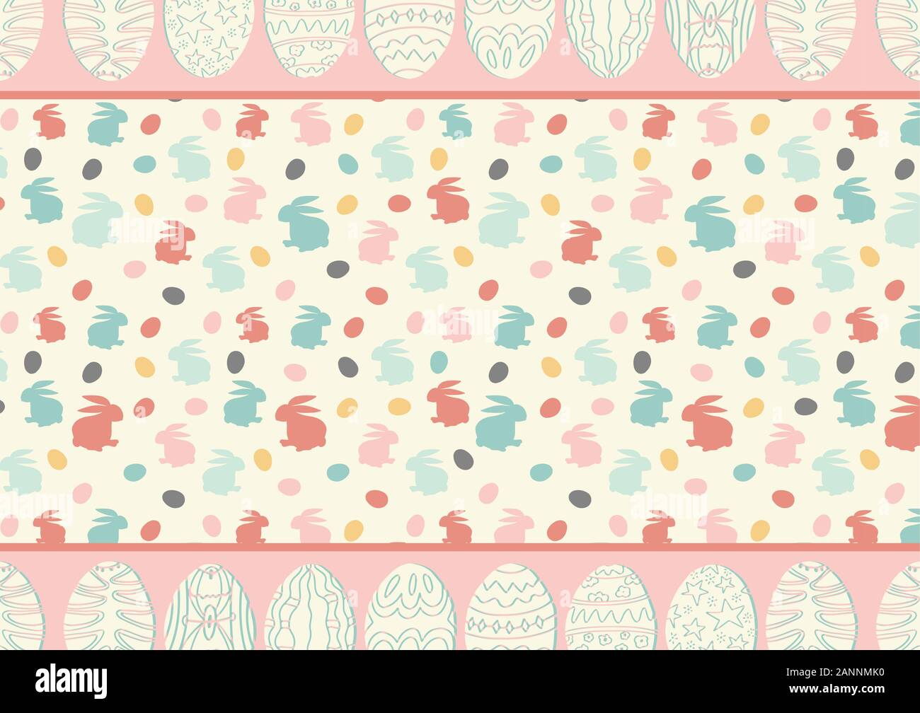 Cute Horizontal Easter Background With Copy Space Place For Text Scrapbooking Design Vector Simple Cartoon Illustration Holiday Banner Invitation Stock Vector Image Art Alamy