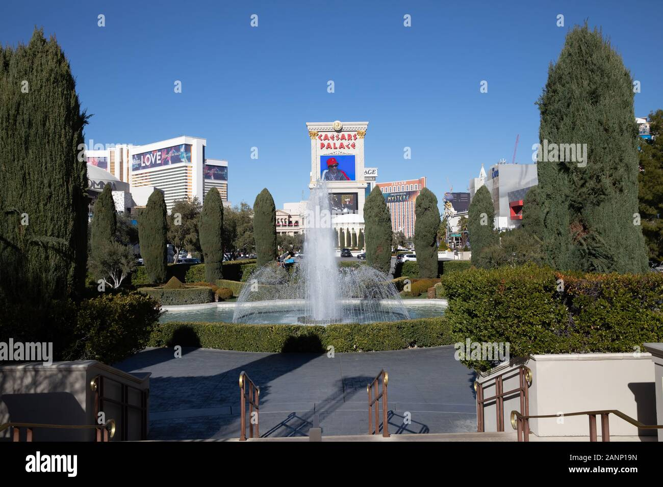 Water Fountains in front of Caesers Palace Hotel in Las Vegas, Nevada, USA Stock Photo