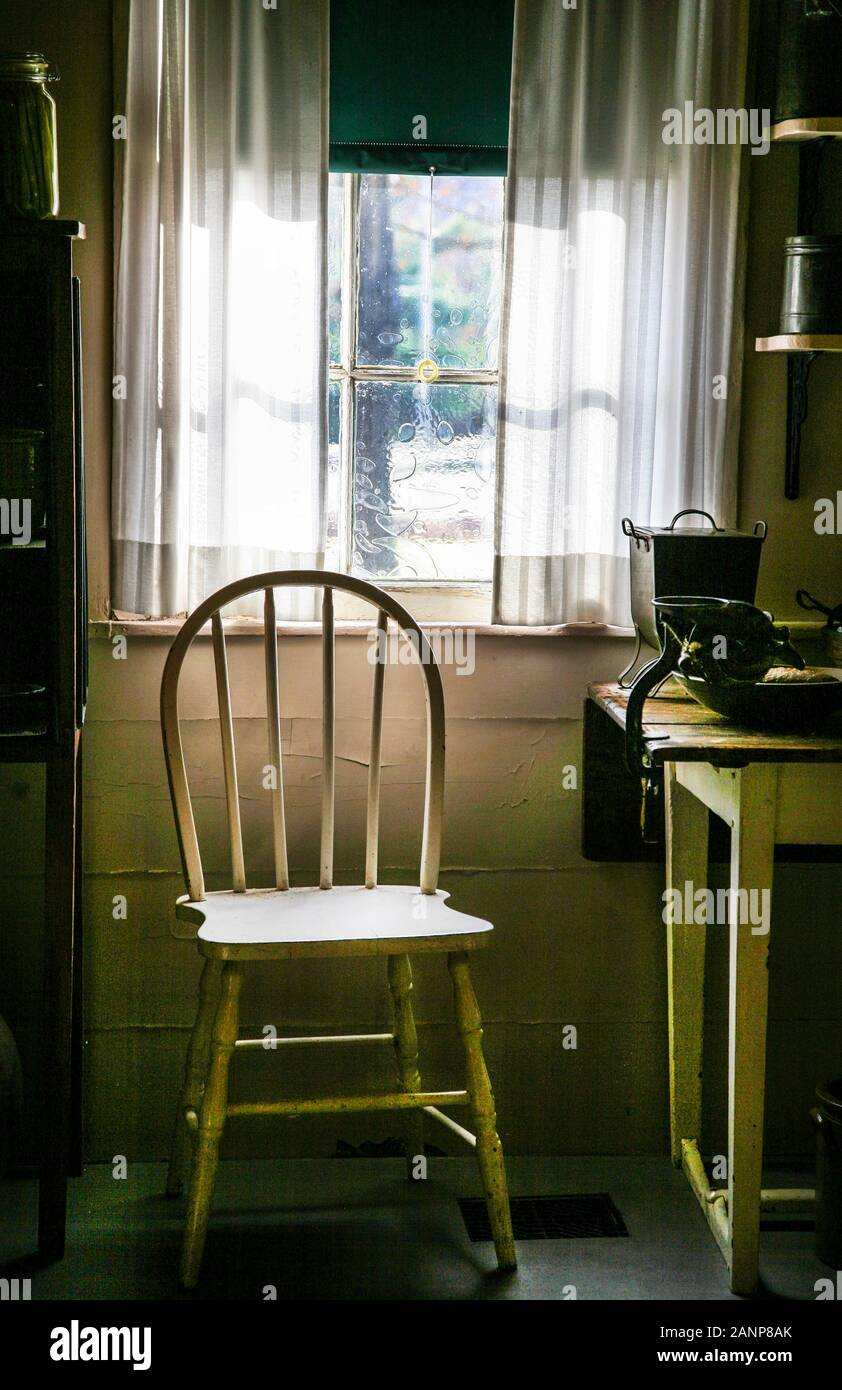Vintage Chair And Window With Lace Curtains New Jersey Usa Country House Kitchen Stock Photo Alamy