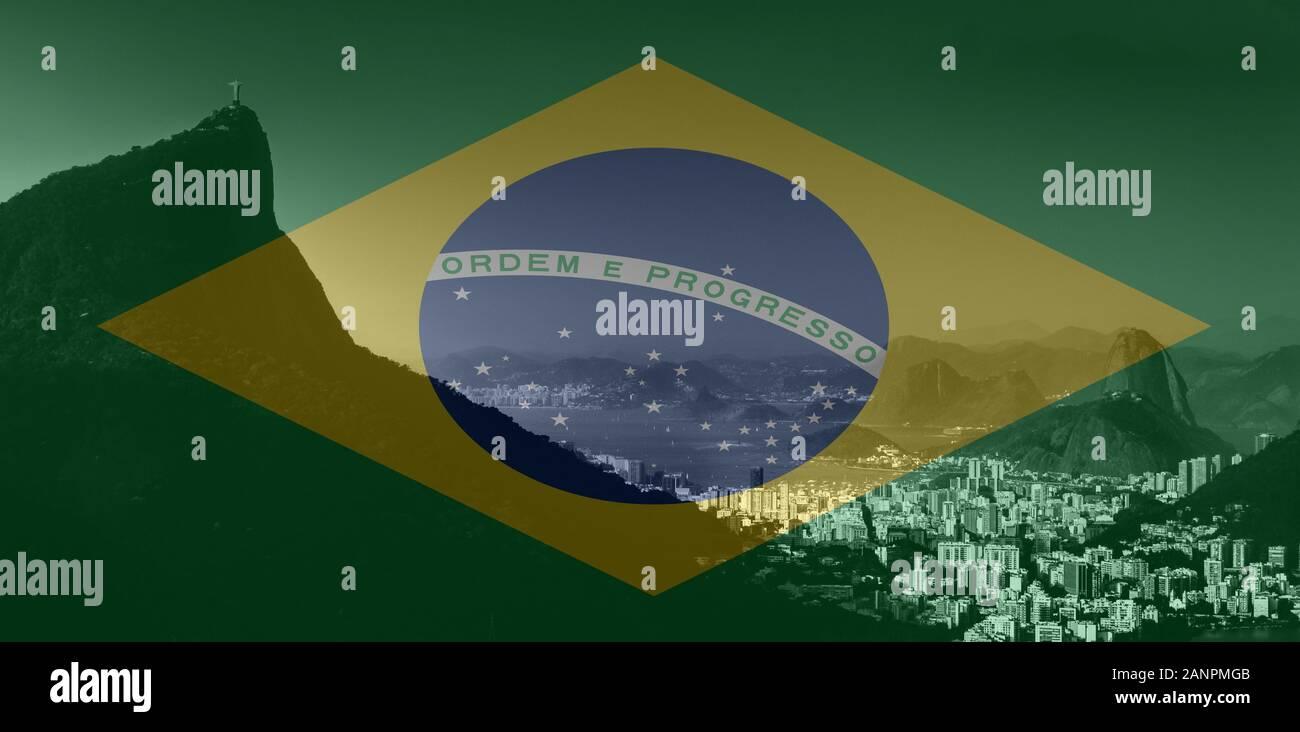 Rio de Janeiro view from Vista Chinesa, Floresta da Tijuca, Brazil in monochrome. Brazilian flag superimposed on foreground Stock Photo