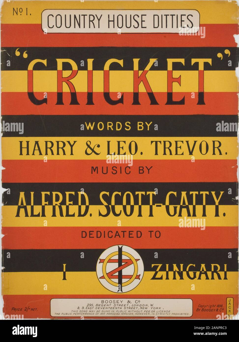 Country House Ditties. Cricket songs front cover Stock Photo