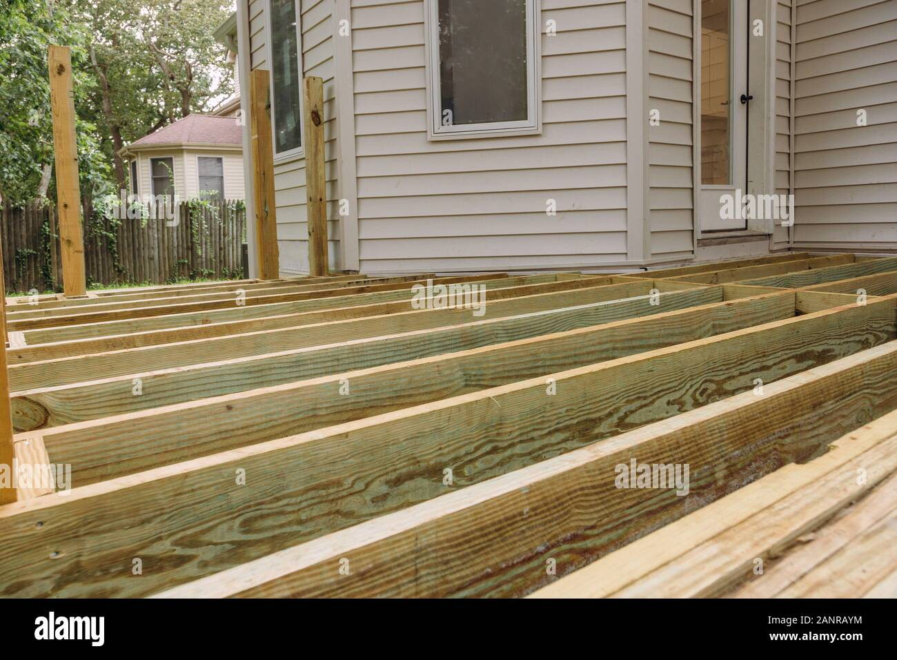 Building A Patio With Wooden Porch Terrace Flooring In Patio