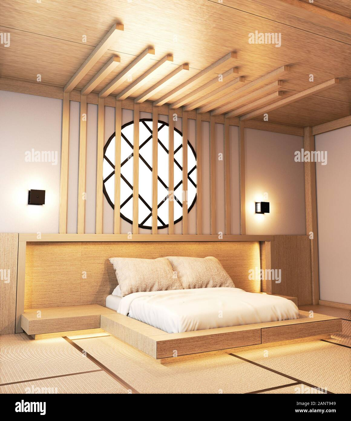 Bedroom Design Japanese Wooden With Battens And Hiden Light Wall Design 3d Rendering Stock Photo Alamy