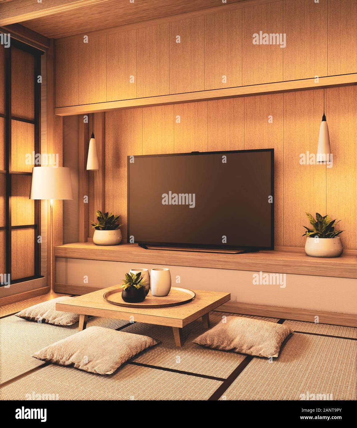 Tv On Empty Wall Background And Wall Wooden Japanese Design On Living Room Zen Style 3d Rendering Stock Photo Alamy