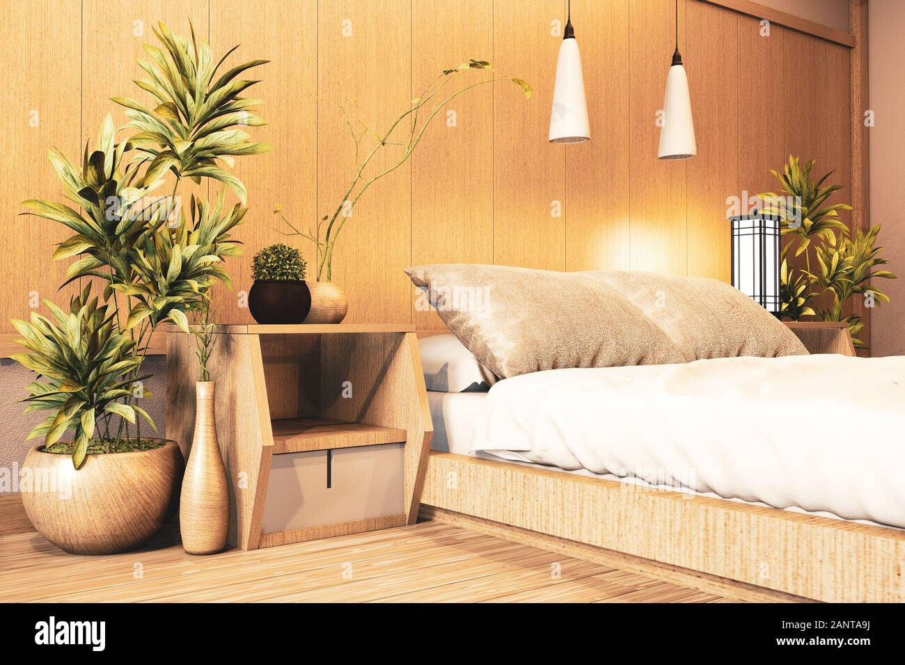 Interior Luxury Modern Japanese Style Bedroom Mock Up Designing The Most Beautiful 3d Rendering Stock Photo Alamy