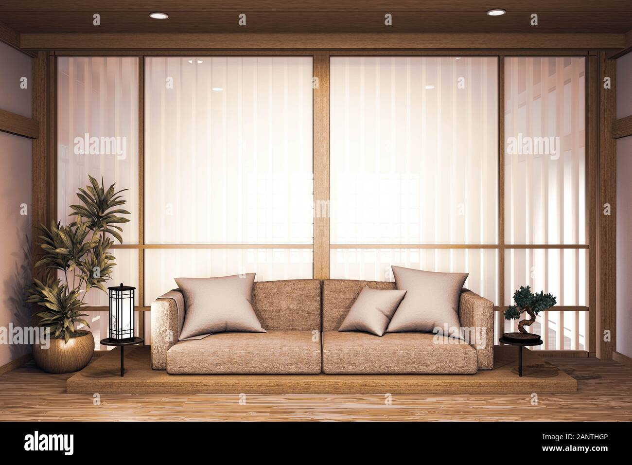 Sofa Wooden Japanese Design On Room Japanese Wooden Floor And