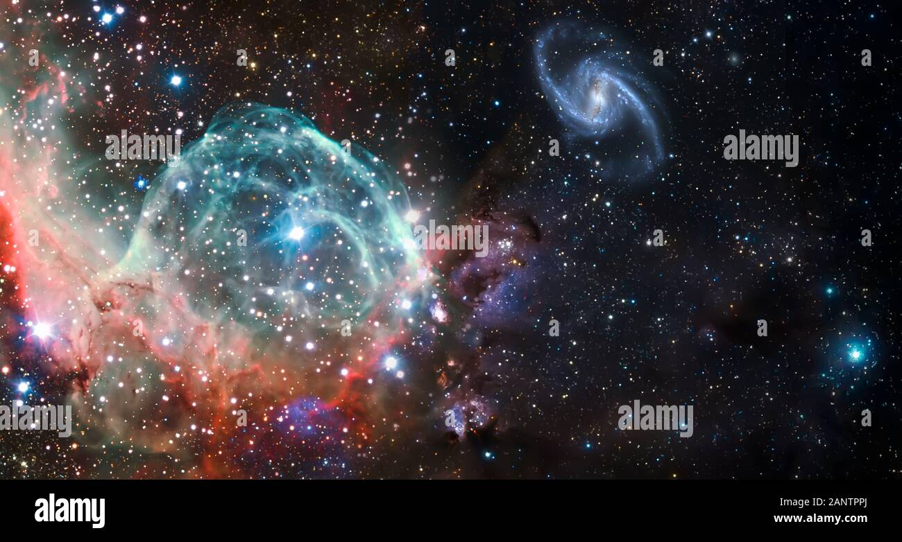 Nebula and galaxies in space. Abstract cosmos background. Elements of this image furnished by NASA Stock Photo