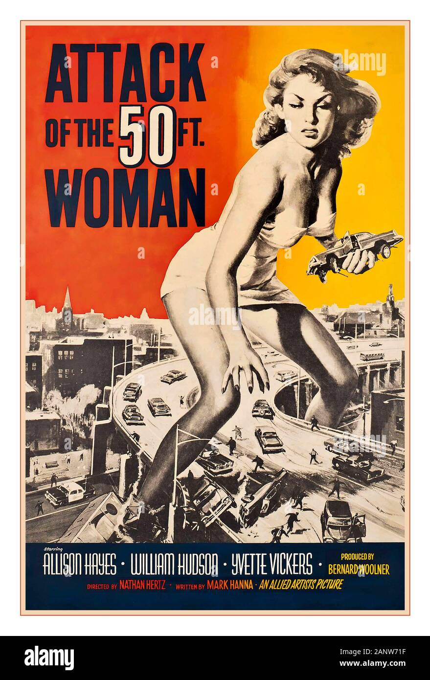 ATTACK of the 50ft WOMAN Vintage 1950's movie film cinema poster  'ATTACK OF THE 50FT. WOMAN'  1958 ‧ Cult film/Horror ‧1958, Allied Artists, U.S by Reynold Brown cult horror film  featuring Allison Hayes and William Hudson Yvette Vickers Directed by Nathan Juran Stock Photo