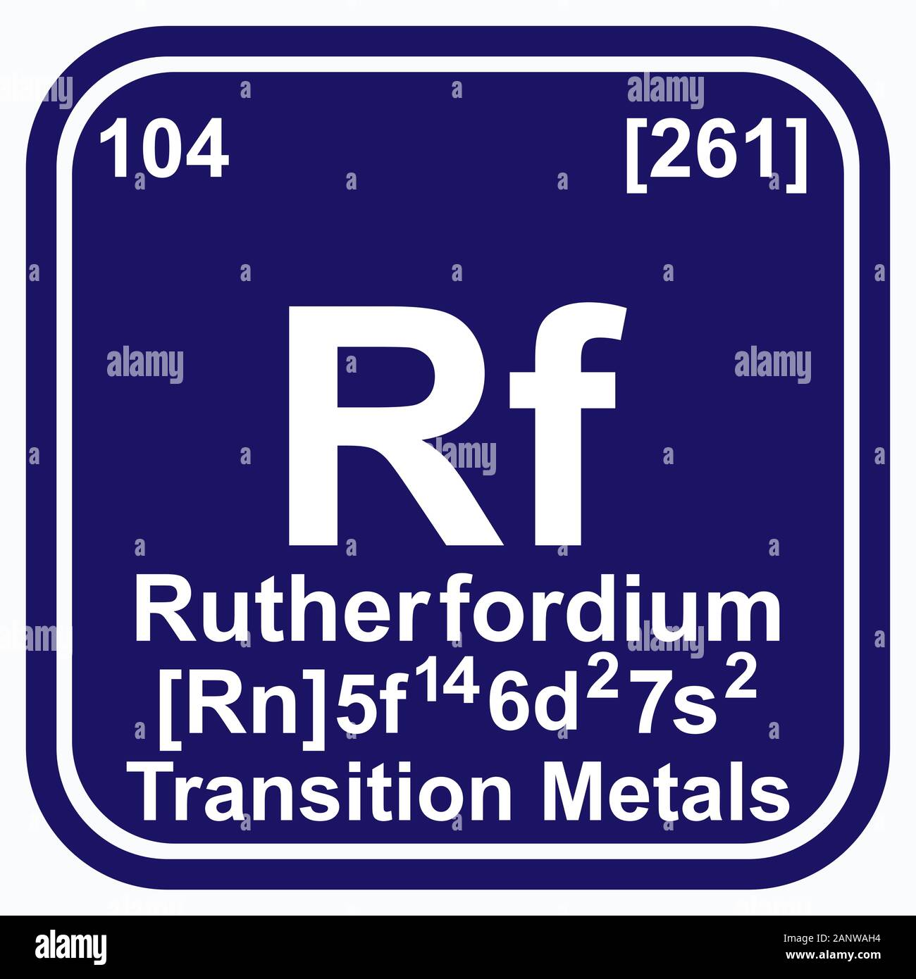 Rutherfordium Periodic Table of the Elements Vector illustration eps 10 Stock Vector